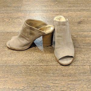 Madden Girl suede block peep toe heels